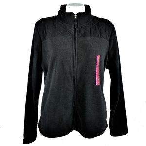 Merona Fleece Jacket Black Quilted Bodice Full Zip
